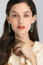 OwnTheLooks Green Stone-Studded Geometric Cut-Out Drop Earrings (198B)