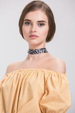 OwnTheLooks Black & White Cheetah Print Choker Necklace (592A)