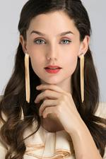 OwnTheLooks Gold-Toned Long Tassel Earrings (199B)