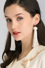 OwnTheLooks White Round Knot Tassel Earrings