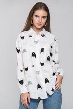 OwnTheLooks White & Black Cat Print Shirt (244B)