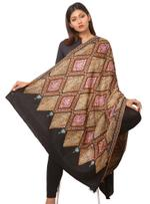 Inaayat Black Base Pashmina With Multicoloured Threadwork Shawl