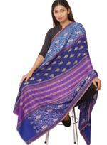 Inaayat Purple, Blue And Indigo Weave Base With Gold Embroidery Shawl