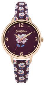 Cath Kidston Geo Burgundy Floral PU Leather Strap Analog Watch - CKL042RRG