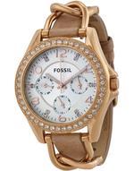 Fossil Riley Beige Leather Strap Analog Watch -  ES3466