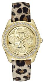 Guess G Twist Leopard Print Leather Strap Analog Watch - W0627L7
