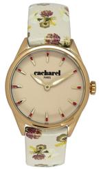 Cacharel Beige Flower Print Leather Strap Analog Watch - CLD012/XX