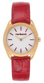 Cacharel Red Leather Strap Analog Watch - CLD042/1BL