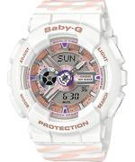 Casion Baby -G Alarm Chronograph White Resin Strap Analog Watch -BA-110CH-7AER