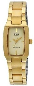 Casio Rectangle Gold Tone Stainless Steel Analog Watch - LTP-1165N-9CEF