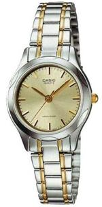 Casio Two Tone Silver Gold Acetate Analog Watch - LTP-1275SG-9AEF