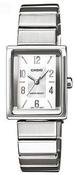 Casio Rectangle Silver Stainless Steel Bracelet Analog Watch - LTP-1355D-7AEF