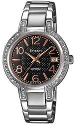 Casio Sheen Diamond Bezel Silver Stainless Steel Analog Watch -SHE-4804D-1AUER