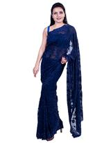 Pankhudii Navy Blue Embroidered Saree with Unstitched Blouse (15653)