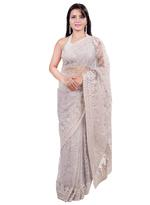 Pankhudii Grey Embroidered Saree with Unstitched Blouse  (15601)