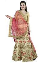 Pankhudii Beige & Pink Embroidered Semi-Stitched Lehenga Set (76159)