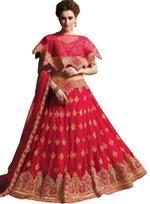 Pankhudii Red Embroidered Semi-Stitched Lehenga Set (10456)