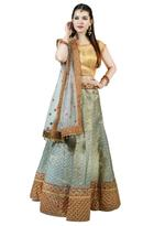 Pankhudii Grey & Red Embroidered Semi-Stitched Lehenga Set (1156)