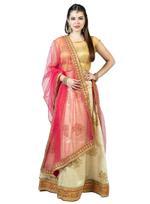 Pankhudii Beige & Pink Woven & Embroidered Semi-Stitched Lehenga Set (75966)