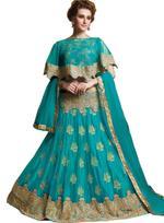Pankhudii Turquoise Blue Embroidered Semi-Stitched Lehenga Set (10454)