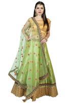 Pankhudii Green & Pink Embroidered Semi-Stitched Lehenga Set (1151)