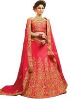 Pankhudii Pink Embroidered Semi-Stitched Lehenga Set (10604)