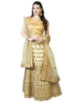 Pankhudii Beige & Gold Embroidered Semi-Stitched Lehenga Set (76223)