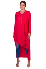 Miella Fuchsia Long Asymmetrical Hem Dress (BL015-FCH)