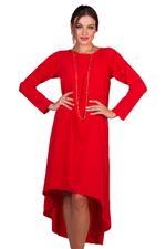 Miella Red Uneven Hem Longline Dress (TP025-RED)