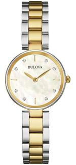 Bulova Diamond Gallery Silver Gold Stainless Steel Analog Watch - 98S146