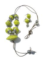 B-The Label Lime Yellow & Oxidized Silver-Toned Necklace & Earrings Set (B-02)