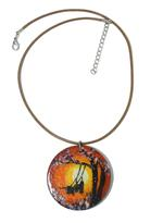 B-The Label Brown & Red Handpainted Necklace (B-09)