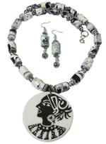 B-The Label Black & White Handpainted Necklace & Earrings Set (B-20)