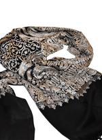 Inaayat Black & White Arazou Embroidered Mixed Cashmere Stole (Arzblk1)
