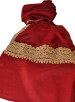 Inaayat Maroon Gold Embroidered Mixed Cashmere Stole (Sonmar30)