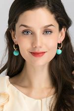OwnTheLooks Blue & Gold-Toned Sphere Drop Earrings (200B)