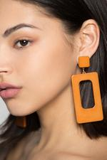 OwnTheLooks Tan Brown Rectangular Drop Earrings (999B)