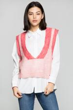OwnTheLooks Pink Sweater Vest Over White Shirt