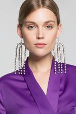 OwnTheLooks Silver-Toned Studded Long Drop Earrings (842B)