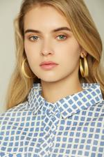 OwnTheLooks Gold-Toned Multi-slim Gathered Hoop Earrings (117C)