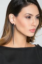 OwnTheLooks Gunmetal-Toned Tassel Star Drop Earrings (108C)