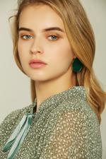 OwnTheLooks Green Jade Resin Stud Earrings