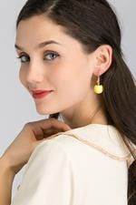 OwnTheLooks Yellow & Gold-Toned Sphere Drop Earrings (201B)