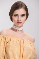 OwnTheLooks White & Gold-Toned Leaf Lace Choker Necklace (465A)