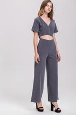 OwnTheLooks Grey Zip Up Crop Top & Palazzo Set (502A)