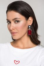 OwnTheLooks Black Onyx and Coral Earrings