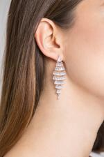 OwnTheLooks Silver-Toned Tiered Diamond-Shaped Stone-Studded Earrings (484B)