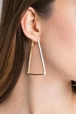 OwnTheLooks White & Gold-Plated Triangular Loop Earrings (489B)