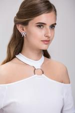 OwnTheLooks Silver-Toned Embellished Bow-Shaped Stud Earrings (472A)