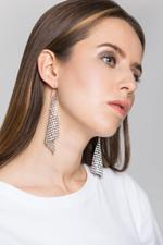 OwnTheLooks Silver-Toned Diamond Mesh Earrings (494B)
